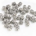 Metal spacer beads, Tibetan silver [an alloy of nickel and copper], Silver colour , Black , 4mm x 4mm x 6mm, 5 Beads, [ZYS0060]